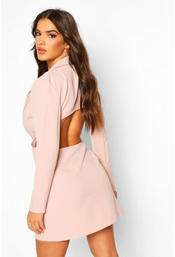 Nude Open Back Blazer Dress