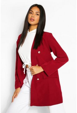 Blazer oversize à double patte de boutonnage, Fruits rouges