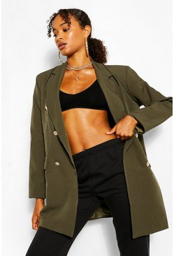 Khaki Oversize Double Breasted Blazer