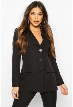 Button Down Fitted Blazer, Black