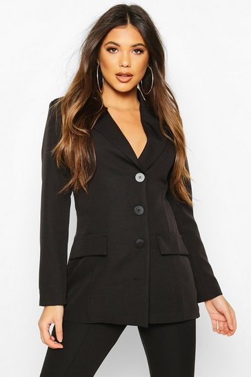 Black Button Down Fitted Blazer