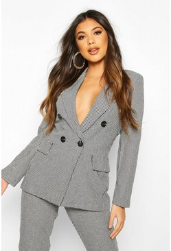 Double Breasted Dogtooth Blazer, Black