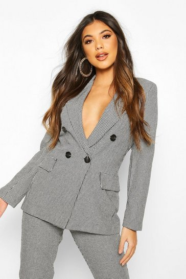 Black Double Breasted Dogtooth Blazer