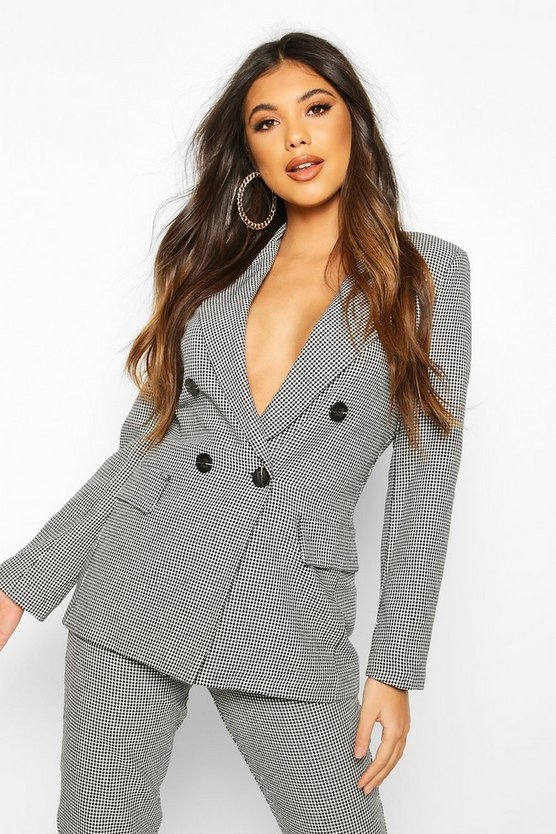 Double Breasted Dogtooth Blazer