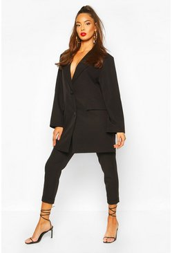 Black Turn Up Self Belt Dress Pants