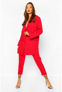 Turn Up Self Belt Tailored Trouser, Red