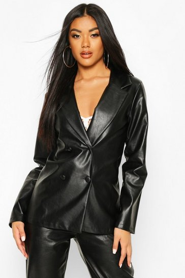 Black Double Breasted Pu Blazer