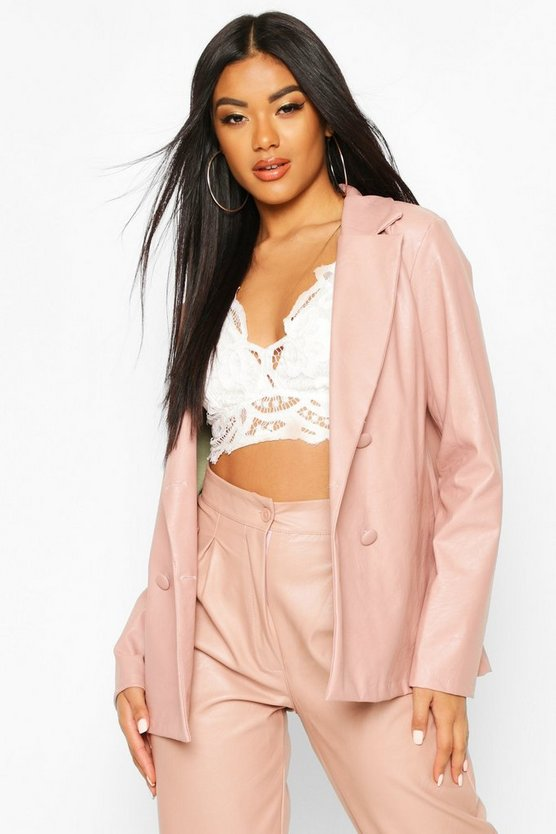 Double Breasted Pu Blazer
