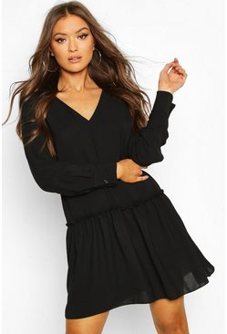 Black Frill Detail Shift Dress