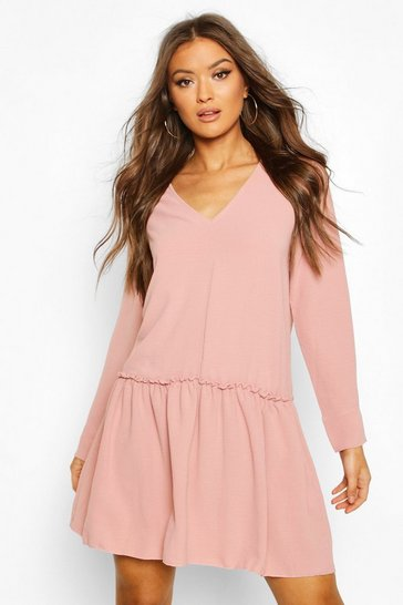 Dusky pink Frill Detail Shift Dress