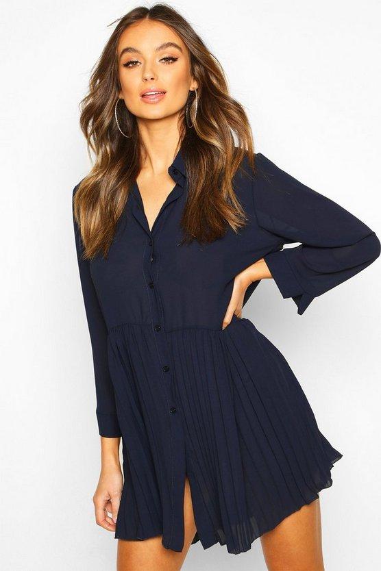 Pleat Hem Shirt Dress