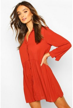 Pleat Hem Shirt Dress, Rust