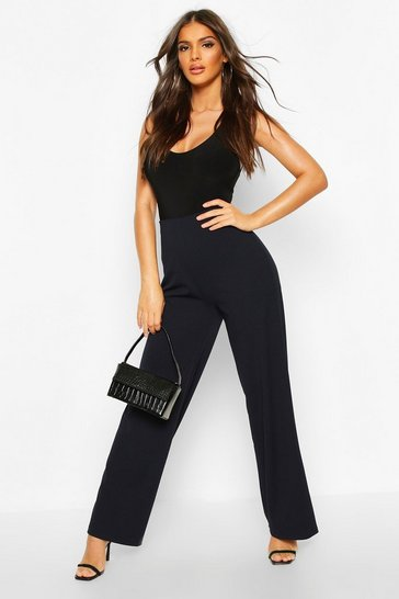 Navy Wide Leg Stretch Tailored Trouser