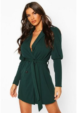 Puff Volume Sleeve Blazer Dress, Forest