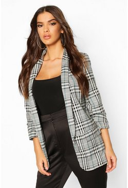 Ruched Sleeve Check Blazer, Grey