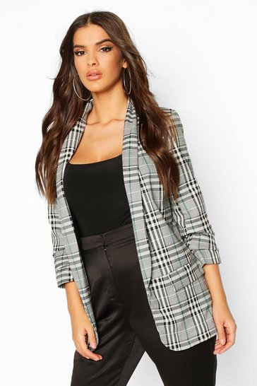 Grey Ruched Sleeve Check Blazer
