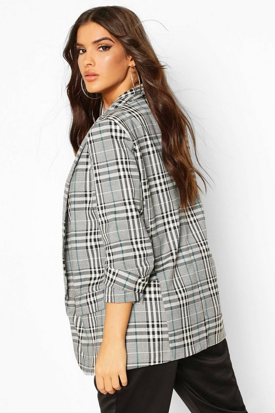 Ruched Sleeve Check Blazer