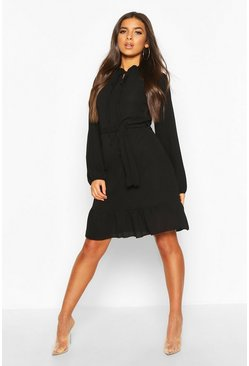 Black Frill Neck Midi Dress