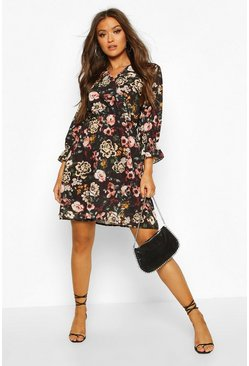 Floral Wrap Over Skater Dress, Black