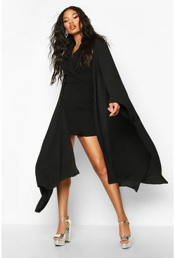 Extreme Cape Detail Mini Dress, Black, Donna