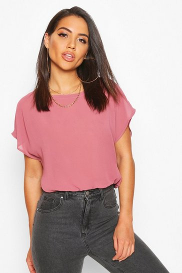 Womens Rose Woven Batwing Shell Top