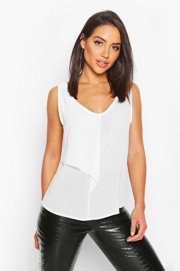 Womens Ivory Ruffle Front Woven Top