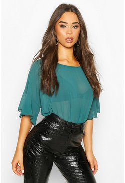 Ruffle Sleeve Roxy Shell Top, Teal, DAMEN