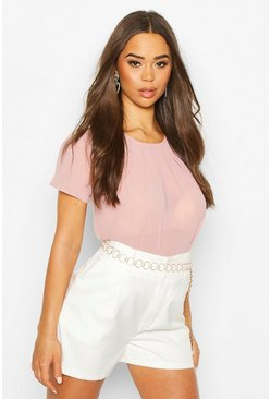 Dam Nude Pleat Front Cap Sleeve Shell Top