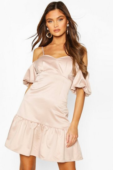 Nude Cold Shoulder Puff Sleeve Satin Skater Dress