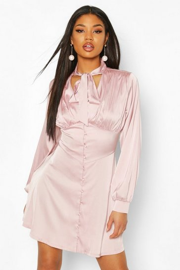 Mauve Tie Detail Button Detail Skater Dress