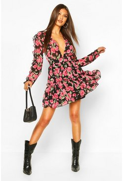Floral Print Ruffle Sleeve Skater Dress, Black