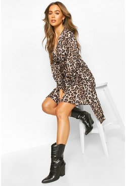 Brown Satin Leopard Print Plunge Drape Detail Skater Dress