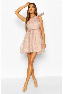 Floral Organza Mesh One Shoulder Bow Skater Dress, Pink