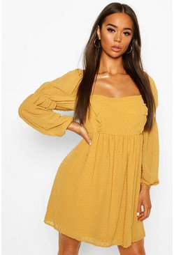 Mustard Dobby Chiffon Square Neck Dress