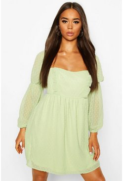 Sage Dobby Chiffon Square Neck Dress