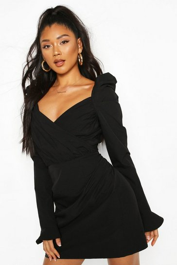 Black Puff Sleeve Wrap Detail Skater Dress