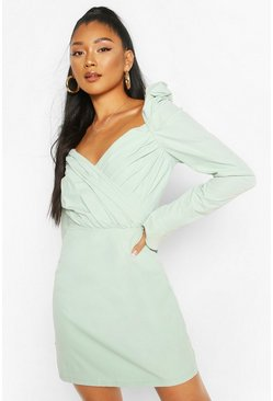 Mint Puff Sleeve Wrap Detail Skater Dress