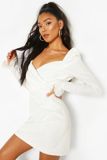 White Puff Sleeve Wrap Detail Skater Dress