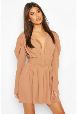 Taupe Puff Sleeve Plunge Belted Skater Dress