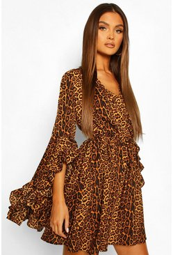 Rust Satin Leopard Extreme Flare Sleeve Skater Dress