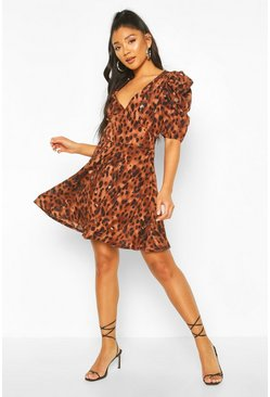 Leopard Print Puff Sleeve Skater Dress, Chocolate