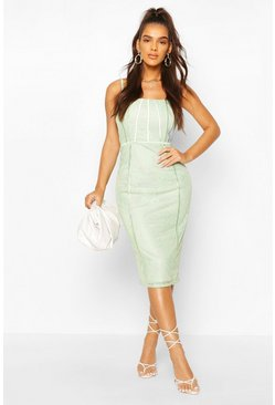Sage Square Neck Lace Midi Dress