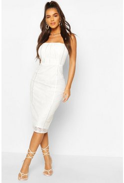 Square Neck Lace Midi Dress, White