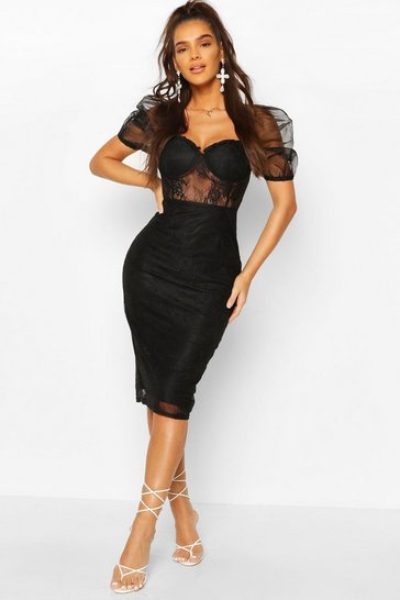 Black Lace Organza Puff Sleeve Midi Dress