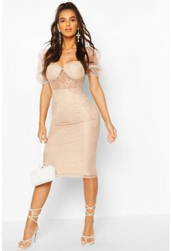 Mauve Lace Organza Puff Sleeve Midi Dress