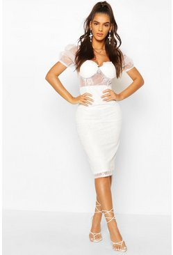 White Lace Organza Puff Sleeve Midi Dress