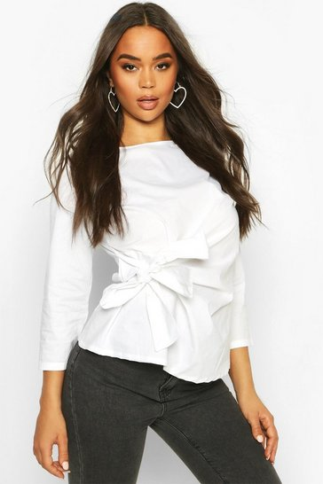 Womens White Wrap Tie Front Cotton Top