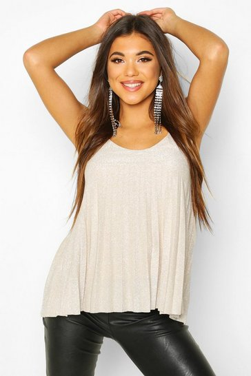 Womens Champagne Metallic Pleated Glitter Cami