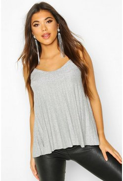 Metallic Pleated Glitter Cami, Silver, ЖЕНСКОЕ