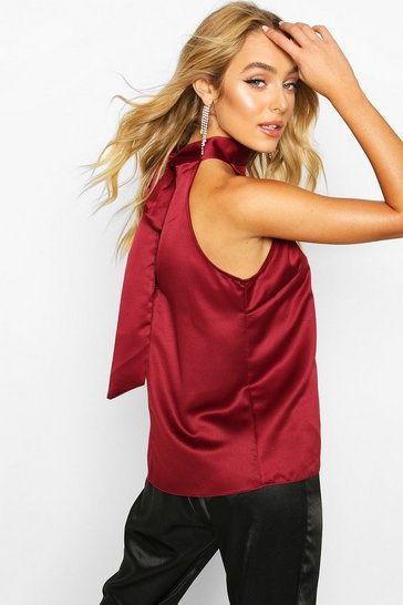 Womens Wine Satin High Neck Tie Back Cami
